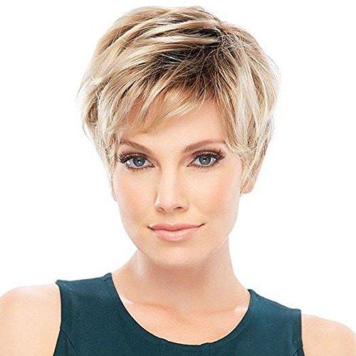 HAIRCUBE Pelucas de pelo natural rubio corto mezcla de pelucas doradas pelucas sintéticas resistentes al calor para mujeres Cosplay de uso diario