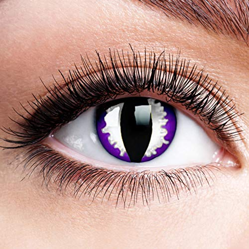 Farbige Kontaktlinsen ohne Stärke Purple Dragon Lila Schwarz Weiß Linsen Halloween Karneval Fasching Cosplay Anime Manga Augen Cat Eye Katzen Reptil Schlange Katzenauge
