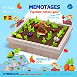 Vegetables Memory Game Carrot Harvest Toy Wooden Toys for Toddlers 3+ Years Old Child Fine Motor Skills Development Toy Montessori Toys Preschool Educational Game Gift for Kids