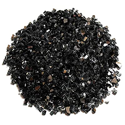 Black Fire Glass, 25 Pounds of ½ In. Premium Tempered Fire Pit Glass, Reflective Fireglass for Fire Pit, Fire Table, Fireplace, Natural Gas and Propane, Fire Glass Pellets Rocks, High Luster Glass