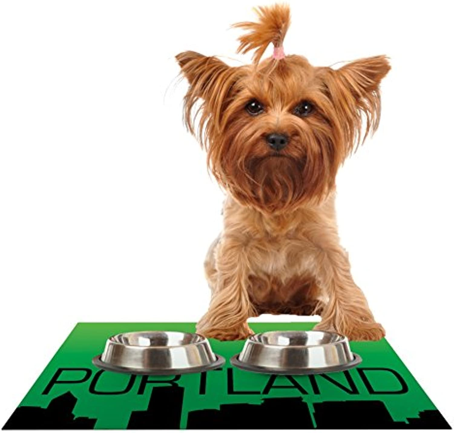 KESS InHouse KESS Original Portland  Green Black Feeding Mat for Pet Bowls, 24 by 15Inch