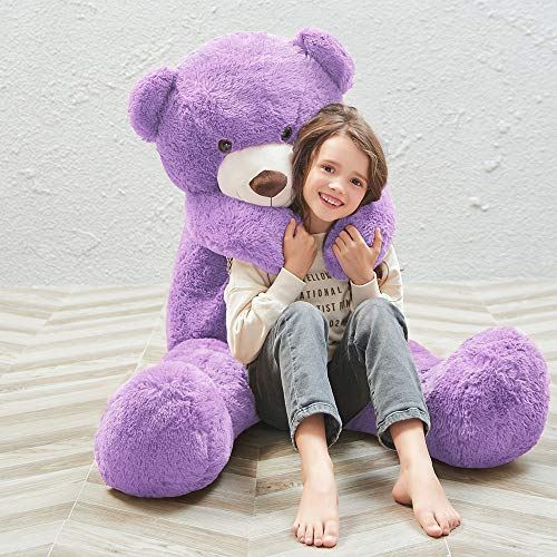 MaoGoLan 55 Inch Giant Teddy Bears Big Cute Plush Teddy Bear Huge Life Size Teddy Bear Large Stuffed Animal Toys for Girlfriend Children Purple