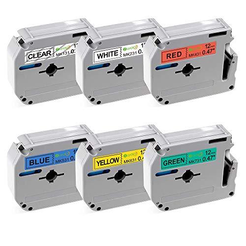 Buyalot Compatible Label Tape Replacement for Brother Ptouch 12mm 0.47 Inch M131 M231 M431 M531 M631 M731 M Label Tapes Work for PT45 PT70BM PT70 PTM95 PT65 PT85 Label Maker, 6-Pack