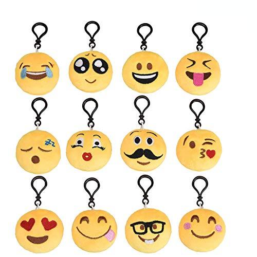 Emoji Schlüsselanhänger Plüsch [12 Pack, 6 cm] Mitgebsel | Kindergeburstagen | Gastgeschenke für Kinder Tasche Rucksack Ranzen Anhänger