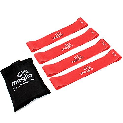 Meglio Loop Bänder Fitnessbänder für Yoga, Pilates, Rehabilitation, Training- 4 x Rotes Loop-Band -(leichter Widerstand)