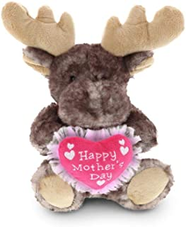 DolliBu Happy Mother`s Day Stuffed Animal, Heart Message for Best Mommy, Grandma, Wife, Step Mom, Mama - Cute Soft Adorable Sentiment Plush Teddy Bear - Surprise Present Gift Arrangement - Moose