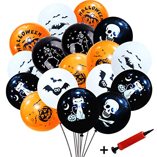 Simuer 100Stk. Luftballons Halloween Skelett Geist Totenkopf Feldermaus Kürbis Lustig Aufdruck Perfekt Halloween Partydeko - Weiße Orange & Schwarz