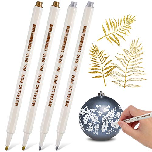Gold and Silver Metallic Marker Pens, Metallic Permanent Markers Suitable for Cards Writing Signature Lettering Metallic Painting Pens (4)