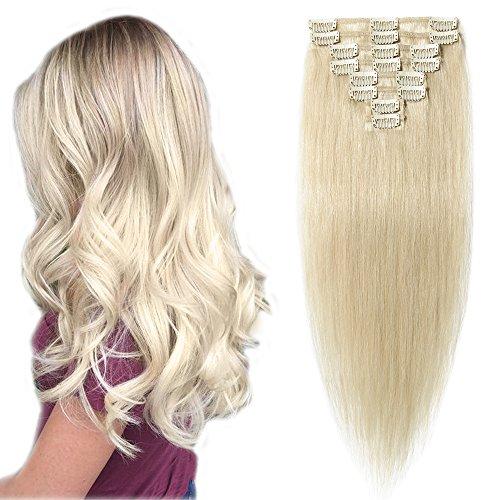"""Cheveux Extension Clip SEGO ® Rajout Cheveux Clip Naturel [Basic Epaisseur] 8 Bands a 18 Clips Clip in Hair Extension - 100% Human Hair 10""""(25cm) - 60"""