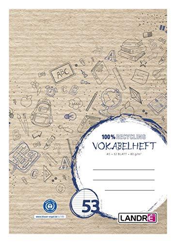Landré Cuaderno de vocabulario reciclable A5, 32 hojas, color azul, 10 unidades