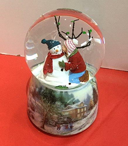 Charming Kids Kissing Snowman Musical 5 x 3.25 Resin Decorative Table Top Snow Globe