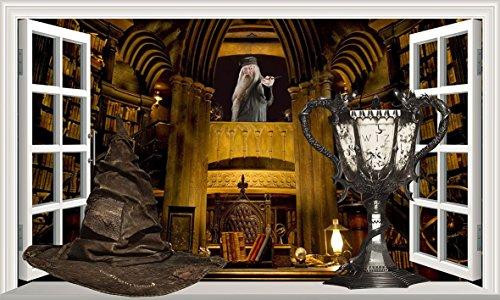 Chicbanners Harry Potter Professor Albus Dumbledore Office Sorting Hoed Triwizards Cup Goblet of Fire 3D Magic Window V333 Muursticker Zelfklevende Poster Muur Kunst Grootte 1000mm breed x 600mm diep