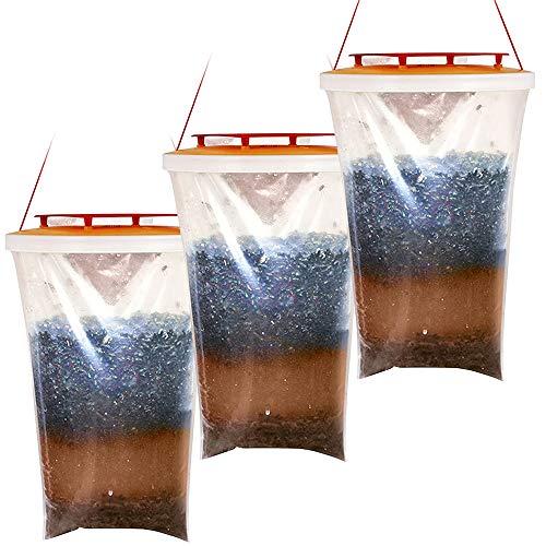 cinsey Trampa para moscas al aire libre, colgante con 3 bolsillos, trampa para moscas, bandeja para huevos, moscas femeninas, chinches hasta 20000, producto desechable, 100% no tóxico