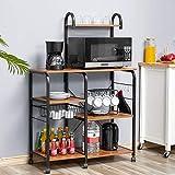Kealive Kitchen Baker's Rack, Mobile Microwave Cart 35.5' Utility Storage Shelf, 4+3-Tier Shelf Kitchen Cart Organizer Workstation with Wire Basket 10 Hooks, Vintage Brown