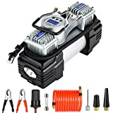 OlarHike Dual Cylinder Air Compressor Tire Inflator, Portable Digital Tire Pump 12V DC Heavy Duty Air Pump with Auto Shut-Off, LED Light for Car Tires, Bicycle and Other Inflatables, Black