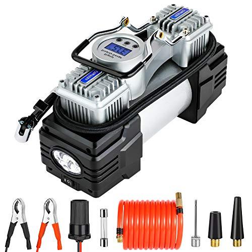 OlarHike 12V Portable Air Compressor, 150PSI Dual Cylinder Pump Tire Inflator, Heavy-Duty Tire Pump with LED Night Light/Auto Shut-Off for SUVs/Trucks/RVs