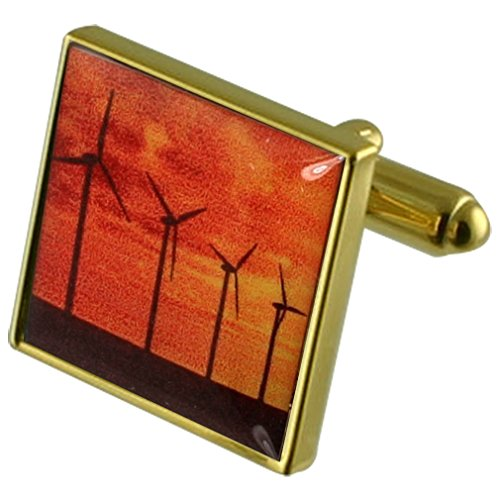 Aerogeneradores Energía Gemelos de oro con grabados caso personalizado