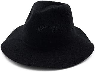 Outdoor Travel Hat Wide Brim Hat Women Men Wool Fedora Hat Wide Brim Fascinator Jazz Hat (Color : Black, Size : 56-58)