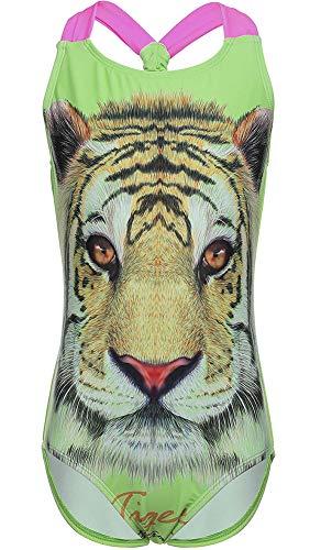 DUSISHIDAN Badeanzüge für große Mädchen, Einteiler Bikini Badeanzug,Grüner Tiger,S