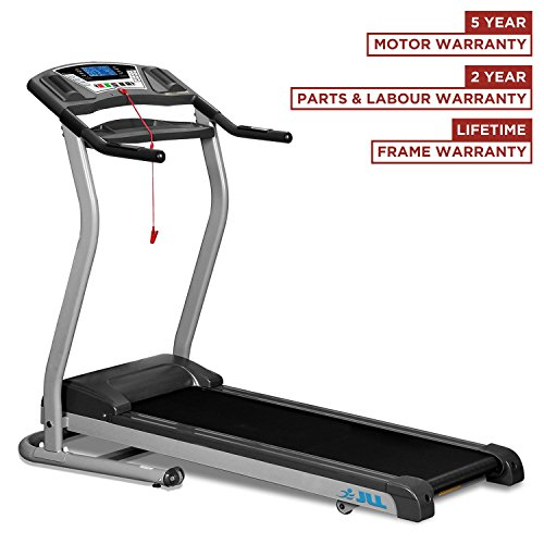 JLL® D100 treadmill with digital motor technology , 4.5HP motor and 16 km/h max. speed with 5 years guarantee, 2016 New Generation Digital Motorised Treadmill, with CE certification, 1 level Manual incline, Built-in speakers, USB port and MP3 Player, 10 professional running programs, folding and wheels, Digital motor technology with unique 0.3 km/h (0.18 mph) smooth start speed, Lifetime Frame guarantee and 2-year Parts & Labour warranty.