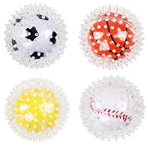 PETGARD Hundespielzeug Igelball Noppenball mit zweitem Ball innen 4er Sparpack