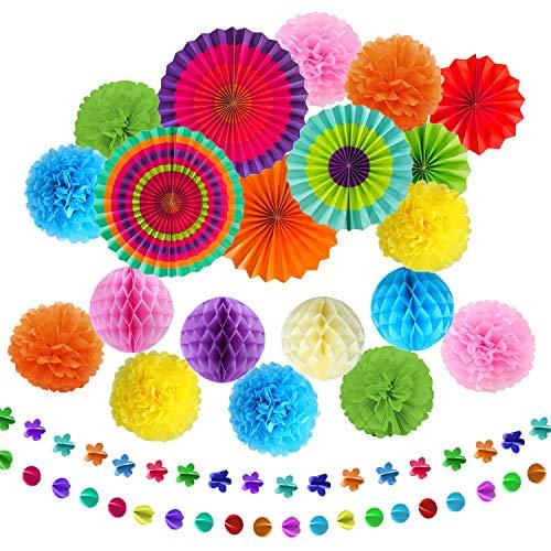 TATAFUN 24 Piezas Decoración Fiesta Abanicos de Papel Flores Pompom Bolas de Nido de Abeja Guirnaldas para Celebración Fiesta de Cumpleaños Bodas Carnaval Mexicano