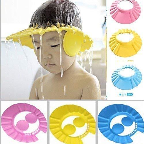 GADGET WEAR Adjustable Safe Soft Bathing Baby Shower Cap Wash Hair For Children Baby Eye Ear Protector Leaves Shape Shampoo (Multicolour)