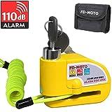 FD-MOTO 110dB Candado de Disco Moto con Alarma Acero 7mm con Cable 1.5M + Bolsa Libre Bloqueo de Moto Motocicleta Antirrobo