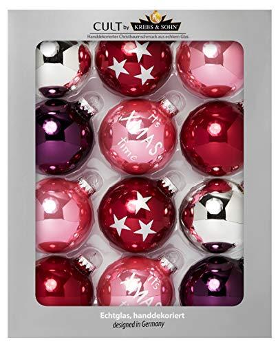 HEITMANN DECO Krebs & Sohn Lot de 12 Boules de Noël en Verre pour Sapin de Noël, Rouge, Rose, argenté, Diamètre 8 cm