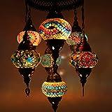Splendida lampada da soffitto a mosaico in stile orientale, multicolore, con 7 pezzi