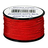 Red MS03 1.18mm x 125' Micro Cord Paracord Made in the USA