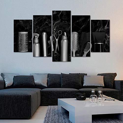 Impresiones de arte en la pared de 5 piezas Herramientas de peluquería Carteles de pared de mármol Impresiones de lienzo Cuadros del arte Lienzo para sala de estar Decoración para el hogar, size 1