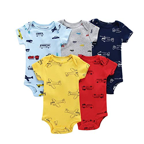 Chickwin Mameluco Bebé Monos Niños Pelele Niñas Body, Algodón Manga Corta Verano Recién Nacidos Unisex Ropa Animal Impresión Pijama para Bebé-Niños Jumpsuit 3-24 Meses (9M,Plano Amarillo)