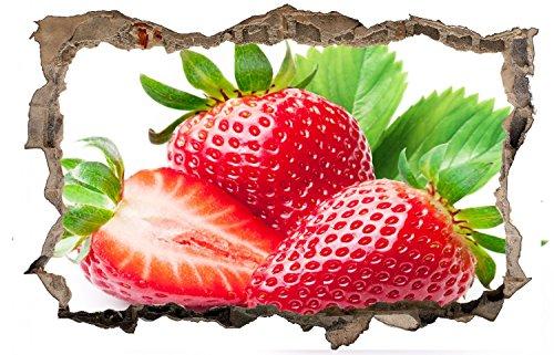 Erdbeeren Obst Frucht Strawberry Wandtattoo Wandsticker Wandaufkleber D0424 Größe 40 cm x 60 cm