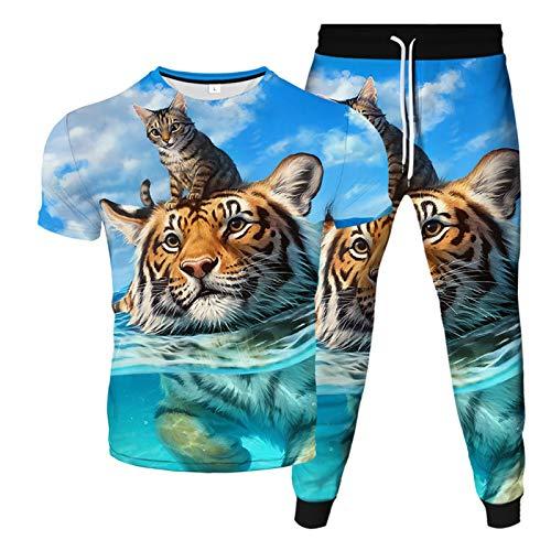 MEIGUI Herren Sportswear Trainingsanzug Set 3D Tiere Sportswear Set Kurzarm Top und Hose Schnell Trockener Jogging Set H-M