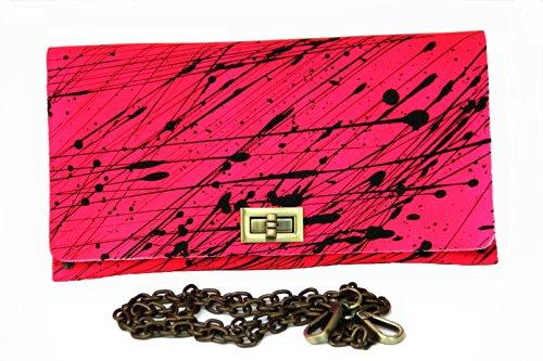 Designerhandtasche, Echtleder, Handarbeit; designed by HOB Bangkok (neonpink mit schwarzen Sprenkeln)