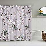 USOPHIA Personalisierter Duschvorhang,Blaue schöne blühende Pflaume Aquarell rosa Blütenblüte Zweig Kirsche chinesische Farbe,wasserabweisender Badvorhang für das Badezimmer 180 x 210cm
