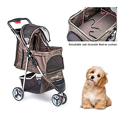 comiga Pet Stroller, 3-Wheel Cat Stroller, Foldable Dog Stroller with Removable Liner and Storage Basket, for Small-Medium Pet,Coffee 7