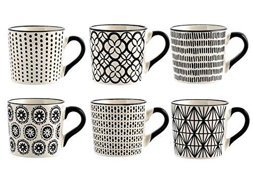 H+H H & H Vhera Set 6Tassen Tee, Tellern, weiß/schwarz, 220ml