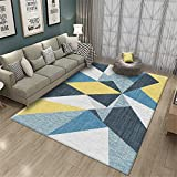 Alfombra para Silla Gaming Azul Alfombra de Estilo Moderno Azul patrón geométrico Alfombra Suave Duradera alfombras de Gateo 180X250CM Alfombra Infantil 5ft 10.9''X8ft 2.4''