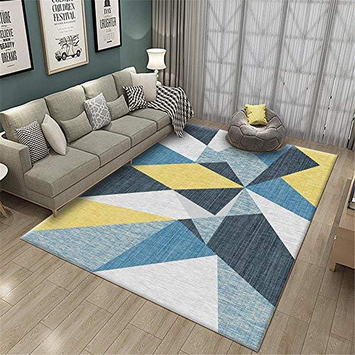 Kunsen alfombras Dormitorio Alfombra Juegos Bebe Alfombra Azul con patrón geométrico Utilizada en la Sala de Estar y el Dormitorio Antideslizante. alfombras y moquetas 160X230CM 5ft 3' X7ft 6.6'
