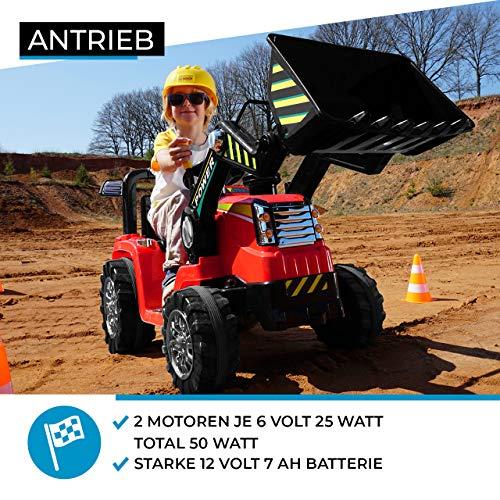 RC Auto kaufen Kinderauto Bild 6: Kinder Elektrobagger mit 2 x 25 Watt Motoren Elektro Bagger Kinderauto Kinderfahrzeug Spielzeug für Kinder Kinderspielzeug (Gelb)*