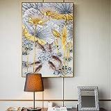 Fondo Abstracto De Oro Lotus Peces Pintura De La Lona Cartel Moderno Arte Cuadros Nuevo Estilo Chino Decoración De Pared Para Sala De Pasillo (Unframed-No Framed,8x12inch)