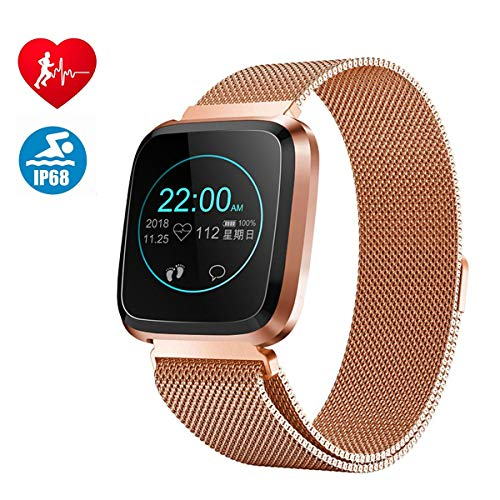 Smartwatch Android iOS, Bluetooth Smart Watch per Uomo Donna Bambini IP68 Impermeabile Sports Orologio Intelligente SMS Cardiofrequenzimetro Pedometro Fitness Tracker per Android Huawei (Gold)