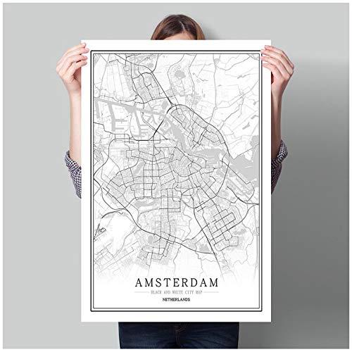 Mulmf Nederland Zwarte Witte Wereldstad Kaart Poster Noordse Amsterdam Breda Muur Kunst Foto's Home Decor Canvas Schilderij-50X70Cm Unframed