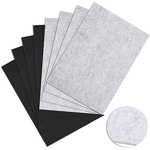 FOGAWA 8Pcs Furniture Felt Pads Heavy Duty Floor Protectors Pads Felt Pad Sheet Self Adhesive 30cmx21cm for Wooden Vinyl Floor Chair Sofa Table Bed Leg Black Gray