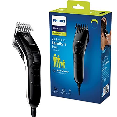 Philips QC5115/15 Tondeuse à Cheveux, 11 Réglages de Longueur, Lames en Inox, Fonctionnement sur Secteur