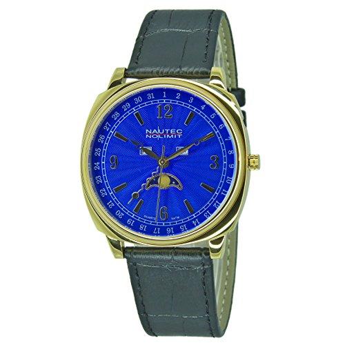 Nautec No Limit Unisex Erwachsene Mondphase Quarz Uhr mit Leder Armband 126128
