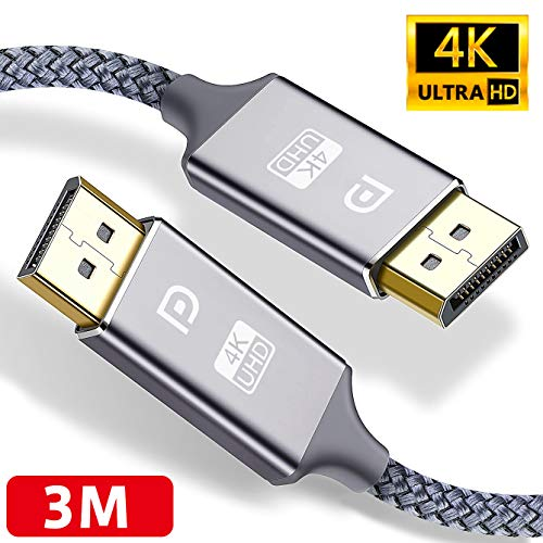 4K DisplayPort Kabel 3M,DisplayPort auf DisplayPort Kabel,ALCLAP DP zu DP Kabel(4K@60Hz, 2K@144Hz) Nylon Geflecht Ultra Highspeed DisplayPort-Kabel für PC,TV,Beamer,Monitor,Grafikkarten(3meter,Grau)