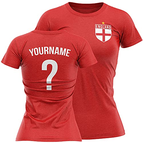 England Shirts For Women - England Flag Badge Custom Name And Number T...